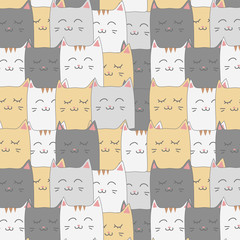 Cute adorable cat kitten seamless pattern background wallpaper