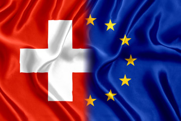 Flag of Switzerland and the European Union silk