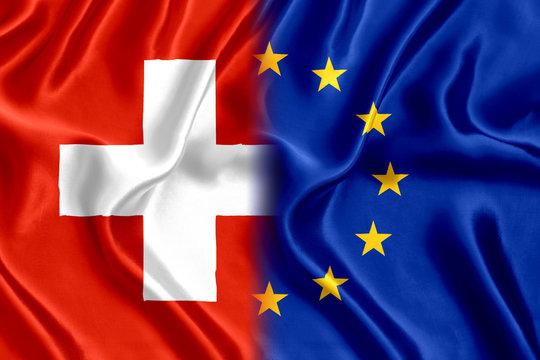 Flag of Switzerland and the European Union silk