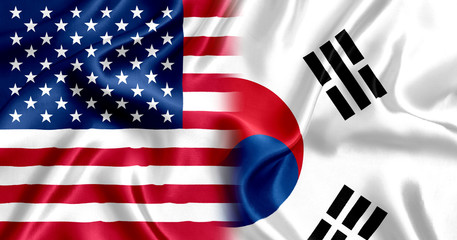 Flag of USA and South Korea silk