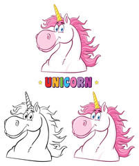 Magic Unicorn Head Classic Cartoon Character Set. Collection Isolated On White Background