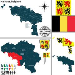 Map of Hainaut, Belgium