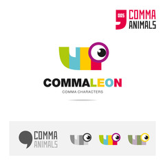 Chameleon animal concept icon set and modern brand identity logo template and app symbol based on comma sign