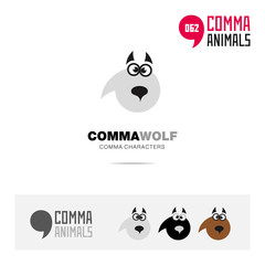 Wolf animal concept icon set and modern brand identity logo template and app symbol based on comma sign