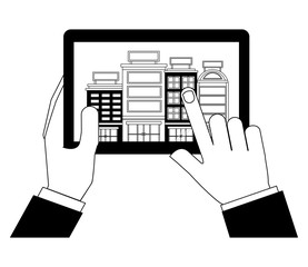 hands holding tablet computer hotels application vector illustration black and white