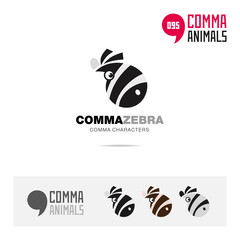 Zebra animal concept icon set and modern brand identity logo template and app symbol based on comma sign