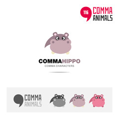 Hippo animal concept icon set and modern brand identity logo template and app symbol based on comma sign