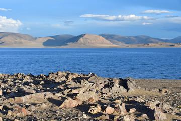 Western Tibet. Sacred lake Dangra (Dang Ra Gyu Tso) in summer evening in cloudy weather