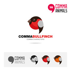 Bullfinch bird concept icon set and modern brand identity logo template and app symbol based on comma sign
