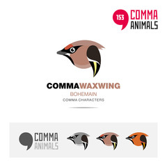 Boheman Waxing bird concept icon set and modern brand identity logo template and app symbol based on comma sign