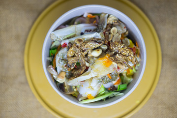 Thai style blue swimming crab spicy salad