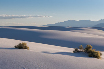 White sands dunes landscape at dusk