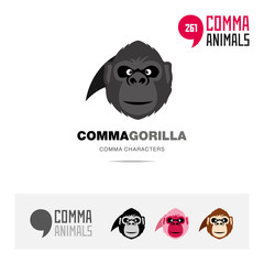 Gorilla Ape animal concept icon set and modern brand identity logo template and app symbol based on comma sign
