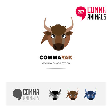 Yak animal concept icon set and modern brand identity logo template and app symbol based on comma sign