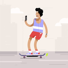 Young man riding electric skateboard in the city. Vector illustration