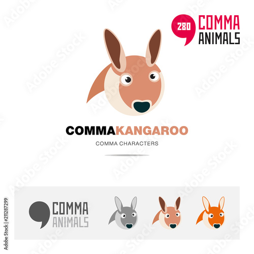 kangaroo animal concept icon set and modern brand identity logo
