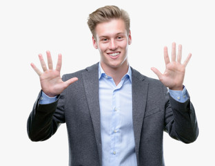 Young handsome blond business man showing and pointing up with fingers number ten while smiling confident and happy.