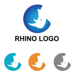 Rhino Rhinoceros Head Logo Symbol Sign