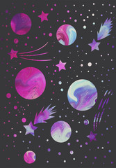 pattern with planets and stars. abstract picture