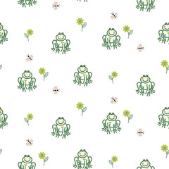Cute frogs baby seamless vector pattern. Green childish pond animals.