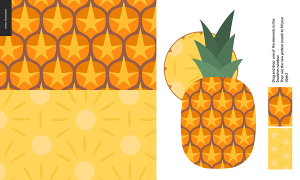 Food patterns - fruit, vector flat pineapple texture - two seamless patterns of brown pineapple rind full of orange spines and yellow juicy pulp, and flat simple entire pineapple with a round chunk