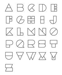 Line geometric font design. Abstract modern lettering. Vector alphabet set.