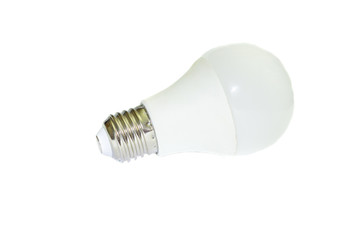 Energy saving light bulb on white background
