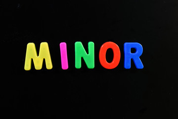 English letters in black background are the words minor