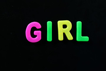 English letters in black background are the words girl