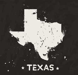 Texas grunge map on black background. Retro distressed illustration with state map.