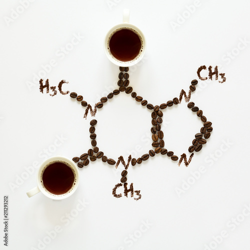 Chemical Formula Of Caffeine Cups Of Espresso Beans And Coffee
