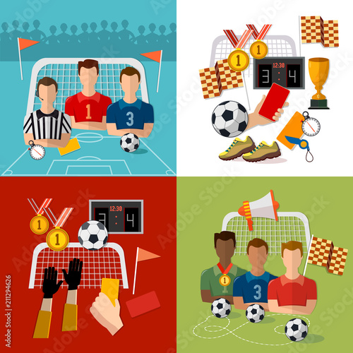 Soccer Set Football Team Signs And Symbols Of Professional Soccer