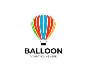 Hot air balloon logo template. Ballooning vector design. Air balloon ride logotype