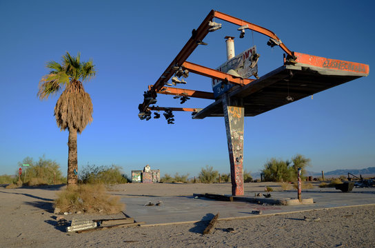 Shoe Tree at Abandoned Gas Station Mojave