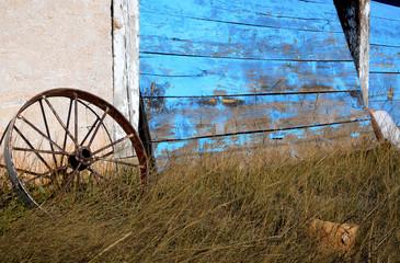 Wagon Wheel and Faded Barn Door