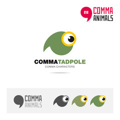 Tadpole animal concept icon set and modern brand identity logo template and app symbol based on comma sign