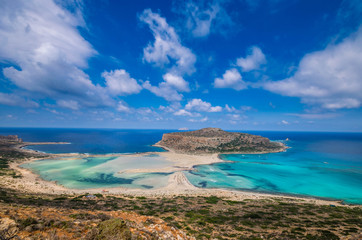 Amazing view from the top of Balos lagoon. The exotic beach with crystal  water and the unique landscape is one of the most popular destination in Crete.