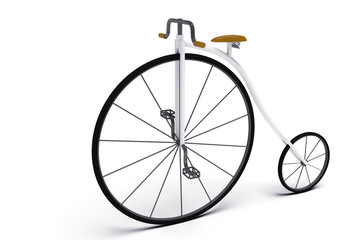 old bike with big wheel 3d