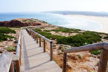 Stairs to the deserted beach, Bordeira Beach, Carrapateira, Algarve, Portugal