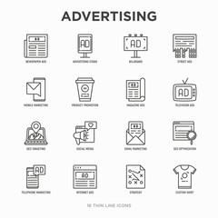 Advertising thin line icons set: billboard, street ads, newspaper, magazine, product promotion, email, GEO targeting, social media, strategy, custom shirt, internet, banner. Vector illustration.