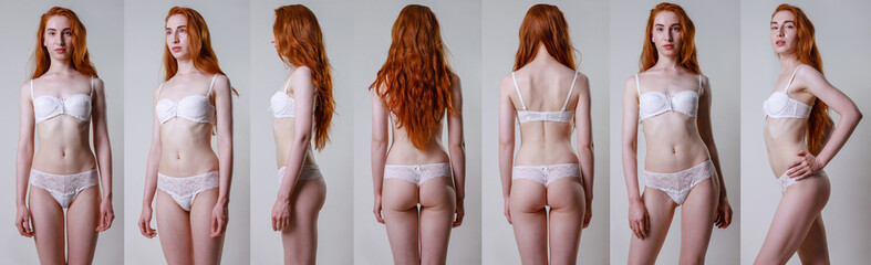 Collage snap red hair models. Beautiful slim tanned woman in white underwear, with no retouching on gray background