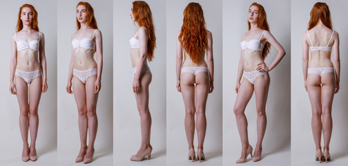 Collage snap red hair models. Full length beautiful slim tanned woman in white underwear, with no retouching on gray background