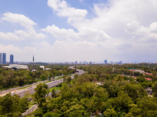Mexico City panoramic view, Chapultepec Park and periferico highway
