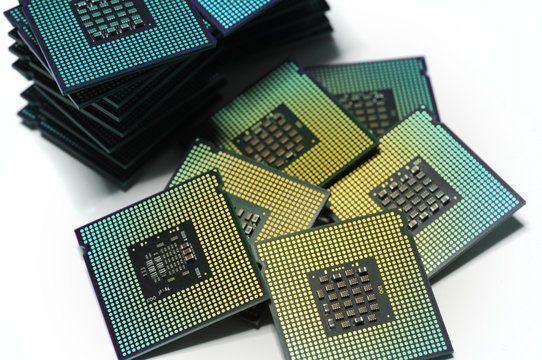 CPU Chip Computer Processors isolated on white background