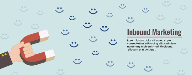 Digital Inbound Marketing Web Banner w happy customers and magnet