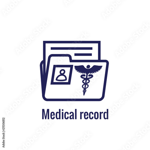 medical records icon with caduceus and personal health record