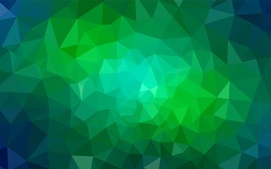 Light Blue, Green vector shining triangular backdrop.