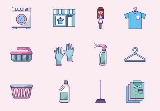 16 Colorful Laundry Icons