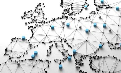 Diseño de mapa del mundo en fondo blanco.Concepto de logística y acuerdos comerciales internacionales.Red de negocios de empresa multinacional y libre comercio