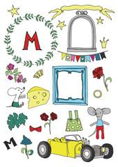 Funny mouse child's clip art kit on white background